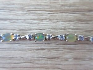 Ethiopian-Welo-Opal-amp-Tanzanite-Bracelet-Platinum-Overlay-Sterling-Silver