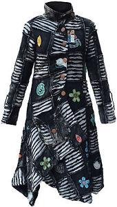 Hippie Fleece Cotton Gothic Asymmetrical Black Emo Coat Line Embroidery Patchwork Long Cqg6wa6
