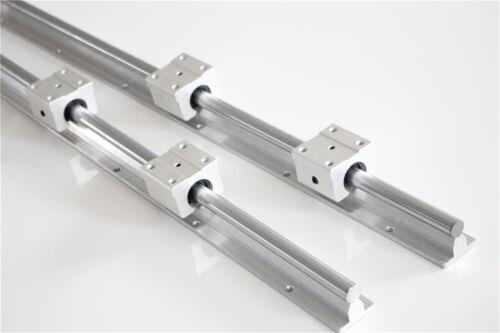 2Set 12mm SBR12 L1000mm Linear Rail Slide Guide Shaft with 4Pcs SBR12UU US Stock
