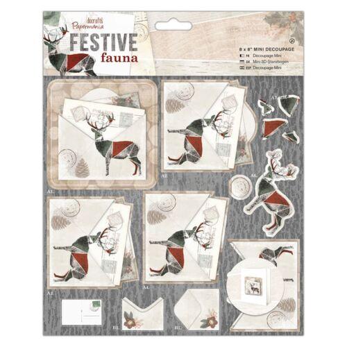 "Docrafts Papermania 8 x 8/"" Mini Decoupage Festive Fauna Postcard"