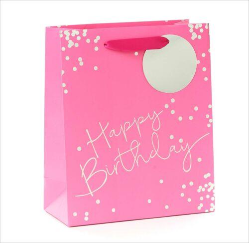 Happy Birthday GIFT BAG Medium Paper Blue Silver Foiled Gift Tag Boys Men Male
