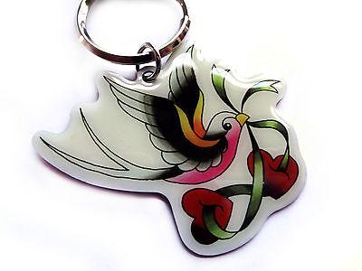 Love Bird Swallow Tattoo metal Keychain ring hot rod key chain tattoo style art