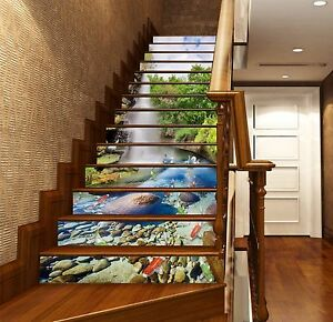 Details About 3D Fish Pond 046 Stairs Risers Decoration Photo Mural Vinyl  Decal Wallpaper US