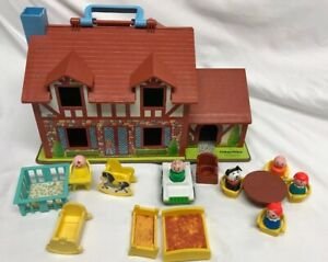 Vintage-Fisher-Price-Little-People-952-Brown-Tudor-House-Incomplete-with-Extras