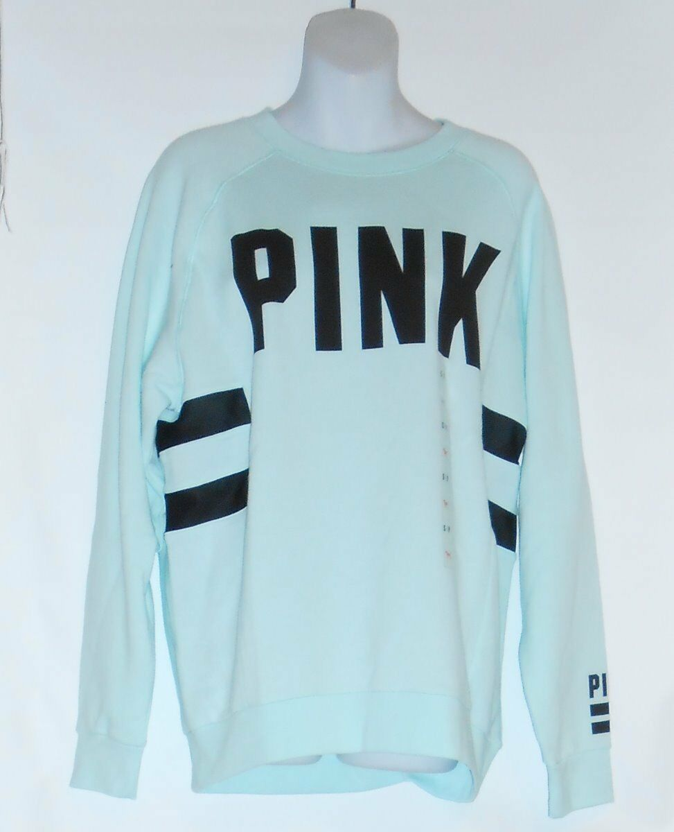 Victoria's Secret Pink Oversized Crew Sweatshirt With Mesh Trim bluee Small (S)