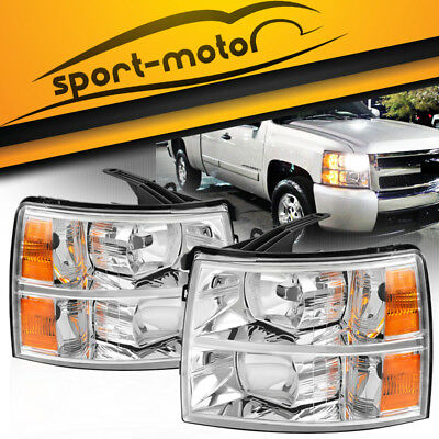 Headlight Assembly Kit for 2007 2008 2009 2010 2011 2012 2013 2014 Chevy Silverado 1500HD 2500HD 3500HD,Headlamp Replacement Chrome Housing Amber Reflector for Driver and Passenger Side