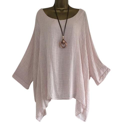 Women/'s plain Loose Baggy Tunic Batwing Sleeve Tops T-Shirt Blouse Plus Size