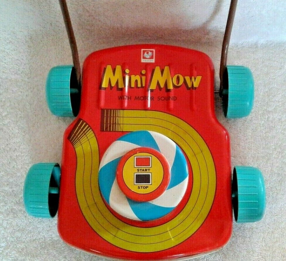 Vintage Ohio Art Mini Mow Lawn Mower Tin Litho With  Motor Sound Works 1960's