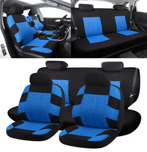 Embroidery-Car-Seat-Cover-Full-Set-Front-Rear-Interior-Accessories-Black-Blue