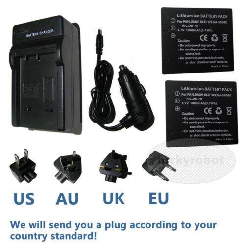 Cargador para PANASONIC CGA-DU07 NV-GS17 NV-GS27 NV-GS50 NV-GS55 GS60 2X Batería