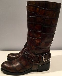 Authentic-Christian-Dior-made-in-Italy-croc-green-biker-boots-36-5-rare
