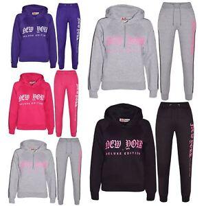 fec33d56 Details about Kids Boys Girls Tracksuit New York Fleece Hoodie Top Bottom  Jogging Suit 7-13 Yr
