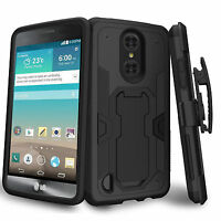 For Lg K8 (2017) Hard Shell Silicone Interior Clip Stand Heavy Duty Black Case