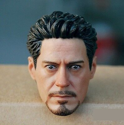 Custom Robert Downey 1/6 Head Sculpt for Hot Toys Tony Stark Muscular Body
