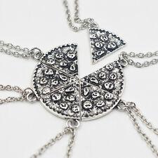 6pc Silver Slice Pizza Pendant Chain Necklace Best Friend BFF Friendship Gift UK