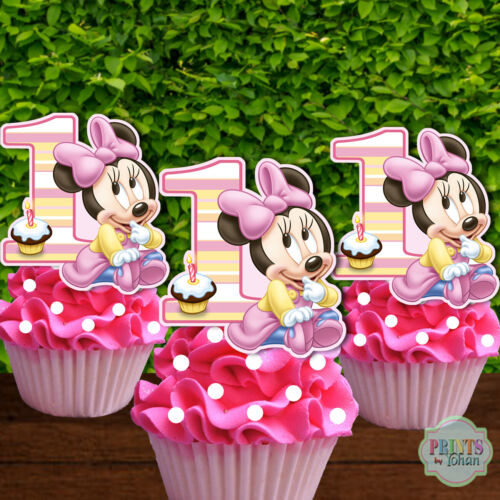 Cupcake Picks Set of 12 BABY MINNIE MOUSE Cupcake Toppers Cupcake