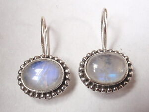 Moonstone-925-Sterling-Silver-Wire-Back-Earrings-with-Silver-Bead-Accents