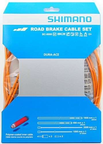 Shimano Dura Ace BC-9000 Road Polymer Brake Cable Set w// FREE End Cap x2 Orange