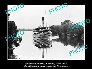 OLD-LARGE-HISTORIC-PHOTO-OF-BAIRNSDALE-VIC-THE-GIPPSLAND-STEAMER-ON-RIVER-1935