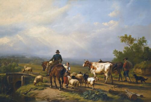 Eugène Joseph Verboeckhoven RIDER CONVERSING WITH A SHEPHERDESS Canvas Print
