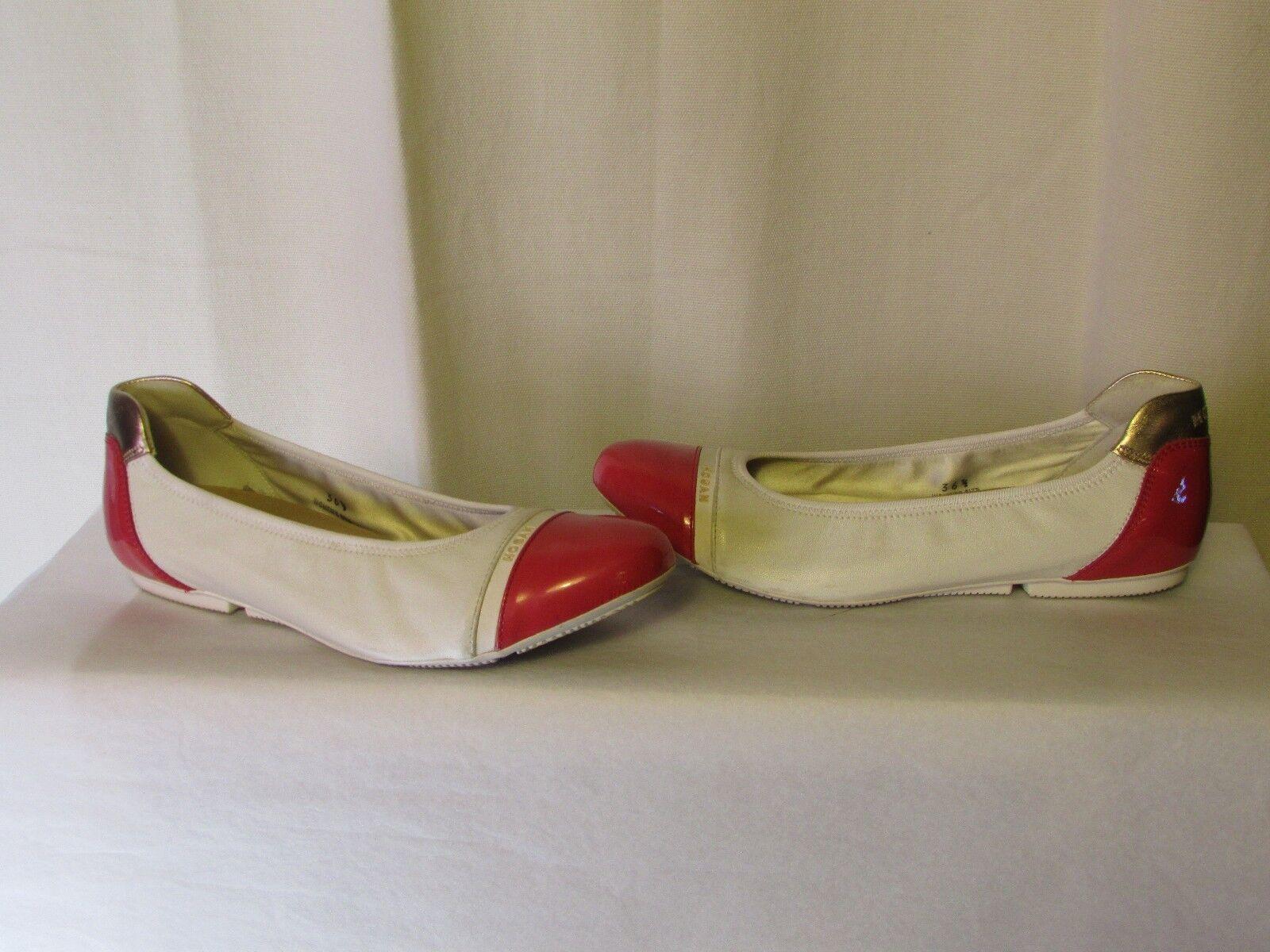 Ballerine HOGAN pelle verniciato fucsia e cuoio bianco 36,5