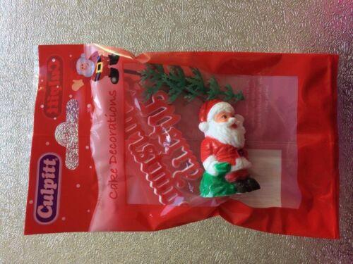 Christmas Cake Decorations Santa with Tree /& Merry Christmas Motto By Culpitt