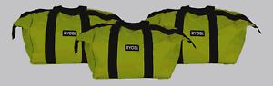 New Ryobi Contractors Canvas Green Wide Mouth Multi Purpose Tool Bag Case 3 Pack Distinctive Pour Ses PropriéTéS Traditionnelles