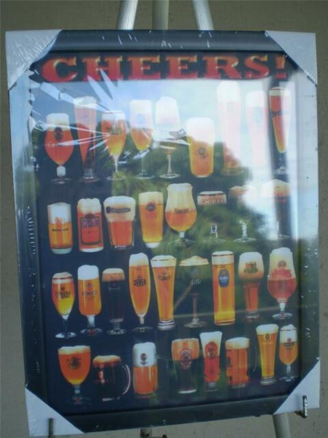 Canvas Print Beer Glasses,CHEERS A man cave print , old style, new 33cm x 43cm