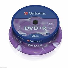 VERBATIM DVD+R RECORDABLE MEDIA 25 PACK SPINDLE CAKE / 16X SPEED / 4.7GB 43500