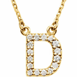 """14k Yellow White or Rose Gold Diamond Initial Letter E Pendant Necklace 18/"""""""