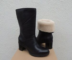ae2e26d719e Details about UGG JESSIA BLACK WATER-RESISTANT LEATHER SHEEPSKIN BOOTS, US  9.5/ EUR 40.5 ~NIB
