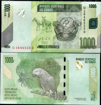 UNC 2013 P-NEW 101 Lot 5 PCS Congo 1000 Francs