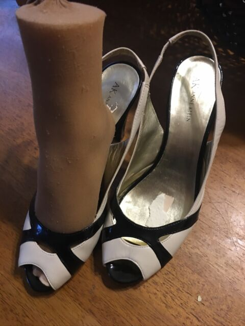 "Anne Klein Black White Leather Slingback 4.25"" High Heels Sandals Size 12"