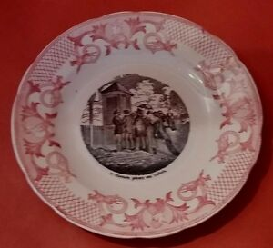 Assiette Parlante Pexonne Les Courses Antique French Majolica Talking Plate Assurer IndéFiniment Une Apparence Nouvelle