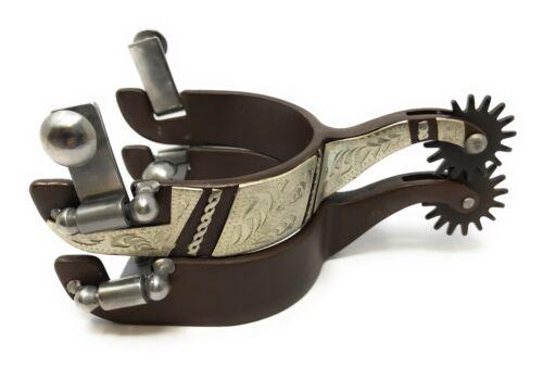 Rock Grinder Western Show Spurs Silver Bars Engraving Antique Brown Mens