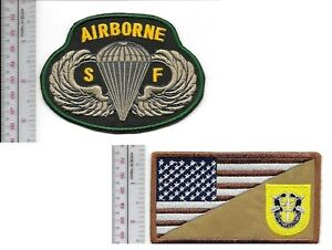 Green-Beret-US-Army-1st-Special-Forces-Group-ABN-amp-SF-Parachute-Wings-Vel-Hooks