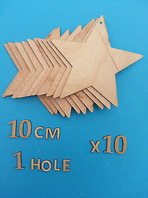 Laser Cut WOODEN SHAPES Large10cm Or Medium7cm STARS with/without holes BUNTING