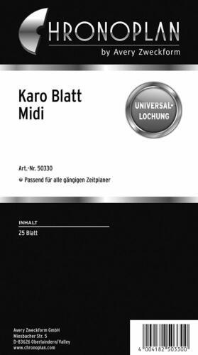 CHRONOPLAN Karo Blatt Midi 25 Blatt 80 g//qm