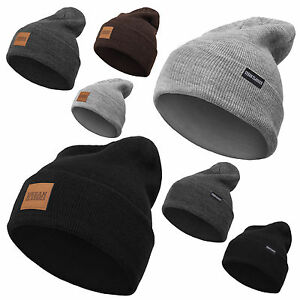 0282f280784f Das Bild wird geladen Urban-Classics-Leather-Patch-Long-Beanie-Flap-Winter-