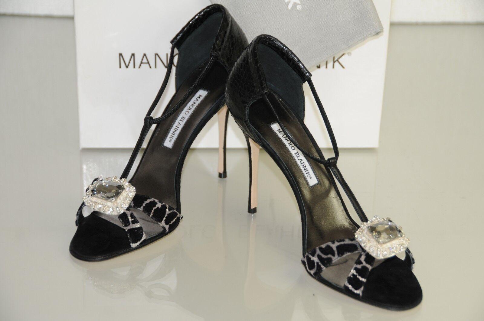 New Manolo Blahnik Drina Black Snake Skins Jeweled shoes Pumps Heels 40.5 10