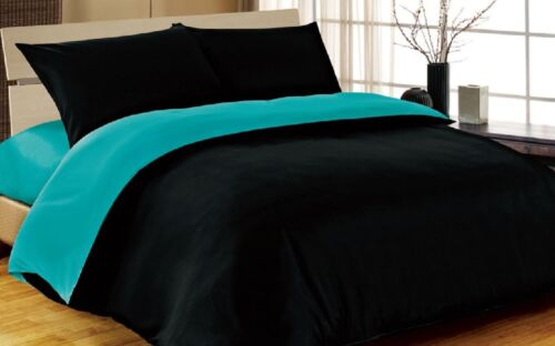 6pc Complete Double Bed Size Reversible Black Teal Duvet Cover Bed Set