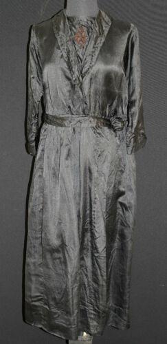 ANTIQUE FRENCH EDWARDIAN BLACK SILK SATIN DRESS SI