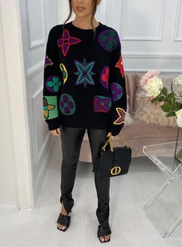 Women/'s Ladies LEEVEE Slogan Fine Knit Winter Jumper Sweatshirt Pullover Top