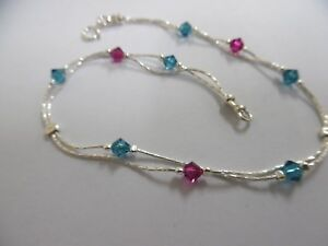 b25cbd758fba Image is loading AN017-Jewelry-925-Sterling-Silver-Anklet-Swarovski-crystals -