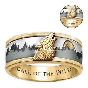 Jewelry-Two-Tone-Punk-Gothic-Rock-Viking-Call-Of-The-Wild-Biker-Wolf-Ring