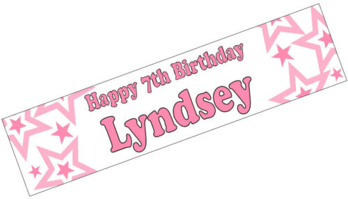 PERSONALISED BANNERS NAME AGE PHOTO BIRTHDAY star 18th 21st 30th 40th pink G1