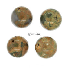4 Huge Natural Rhyolite Round Pendant Beads 20mm #85480