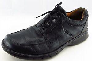Unstructured-Clarks-Chaussures-Sz-10-5-m-Bout-Rond-Noir-Derby-Derbies-en-cuir-hommes