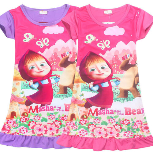 New Girls Masha and the Bear Nightie Nightgown Pyjamas Nightdress Summer Dress