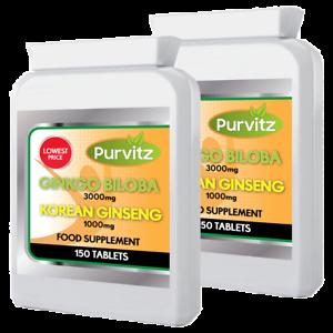 Ginkgo-Biloba-3000mg-und-Koreanischer-Ginseng-1000mg-300-Tabletten-Gesundheit-Energie-UK